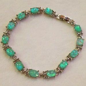 Jewelry - Green Fire Created Opal Bracelet